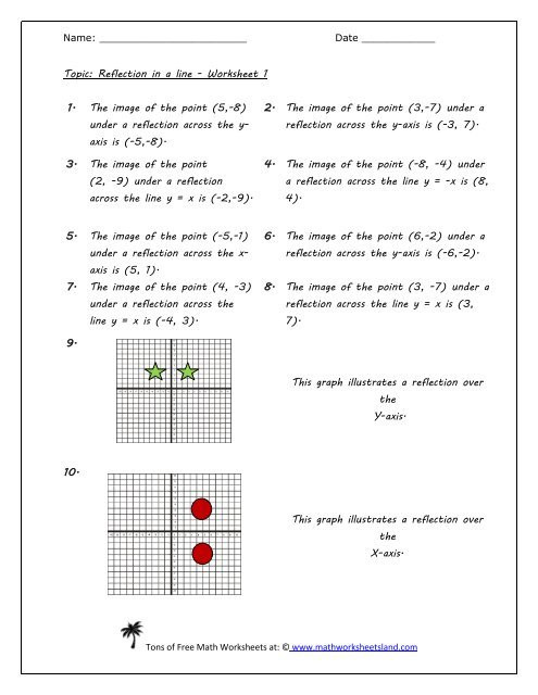 Reflection Math Worksheets Reflection In A Line Worksheet Five Pack Math Worksheets Land