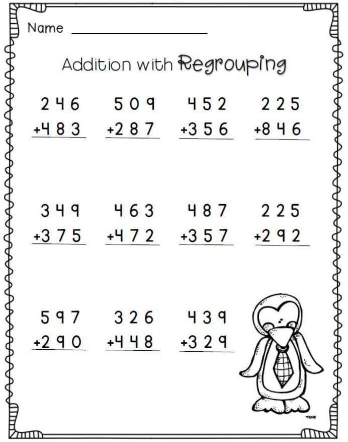 Regrouping Subtraction Worksheets 3rd Grade Penguin Math Freebie 2nd Grade Worksheets 3rd Free Tuition
