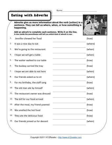 Restaurant Math Worksheets Eating with Adverbs Free Printable Adverb Worksheets 3rd