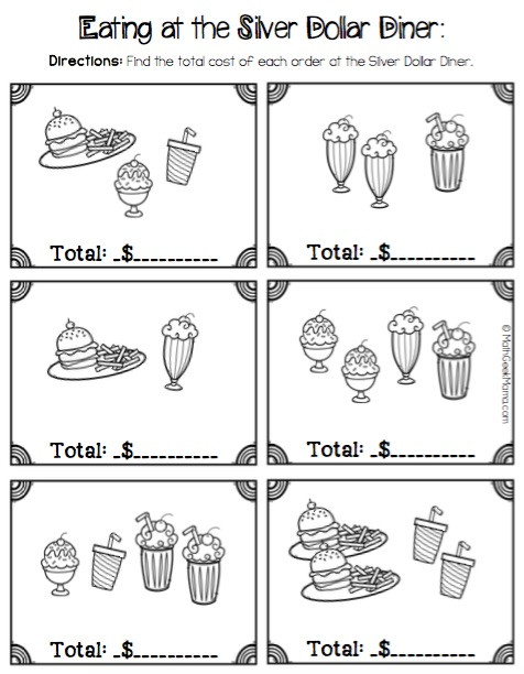 Restaurant Math Worksheets Money Math Practice Worksheets Diner theme