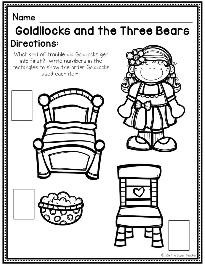 Rocket Math Division Worksheets Goldilocks and the Three Bears Elements Retelling Number