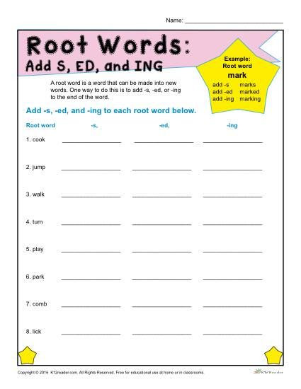 Root Word Worksheets 3rd Grade Printable Root Words Worksheets
