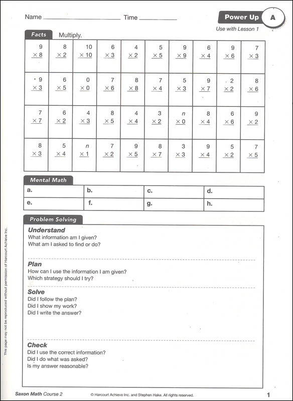 Saxon Math 2 Worksheets Pdf Saxon Math Course 2 Power Up Workbook