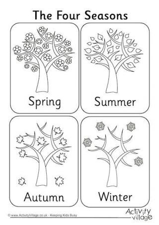 Seasons Worksheets for First Grade Four Seasons Colouring Page