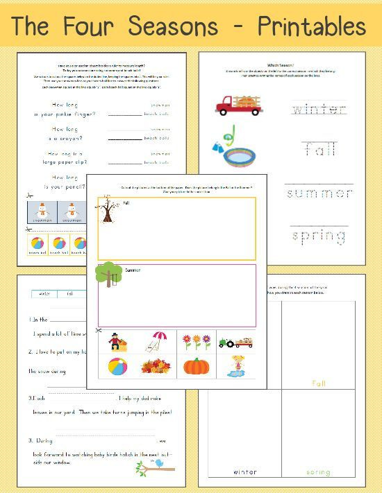 Seasons Worksheets for First Grade Four Seasons Printable Worksheets