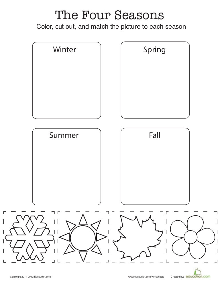 Seasons Worksheets for First Grade Match the Four Seasons 1