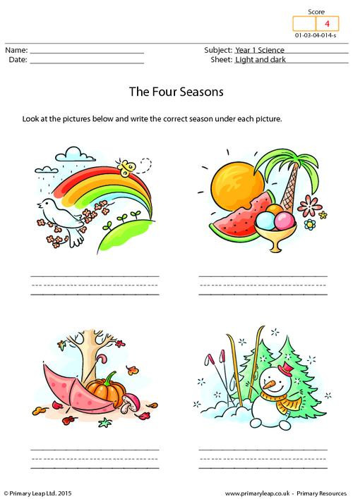 Seasons Worksheets for First Grade Science Writing the Four Seasons Worksheet