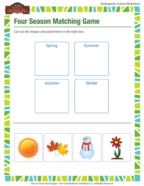 Seasons Worksheets for Kindergarten Four Season Matching Game Worksheet – Kindergarten Printable