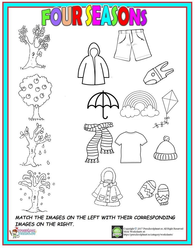 Seasons Worksheets for Kindergarten Four Season Worksheet for Kids