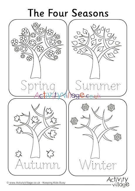 Seasons Worksheets for Kindergarten Four Seasons Handwriting Worksheet