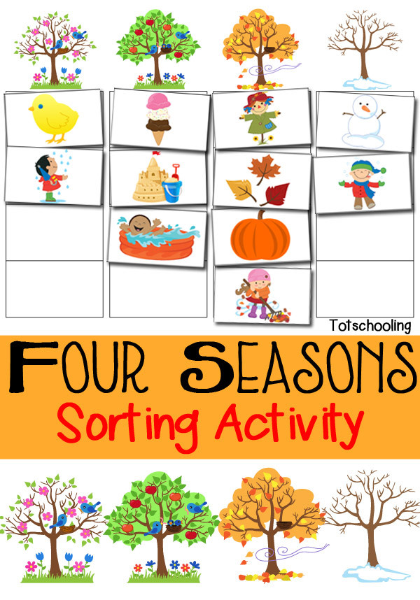 Seasons Worksheets for Kindergarten Four Seasons sorting Activity Free Printable