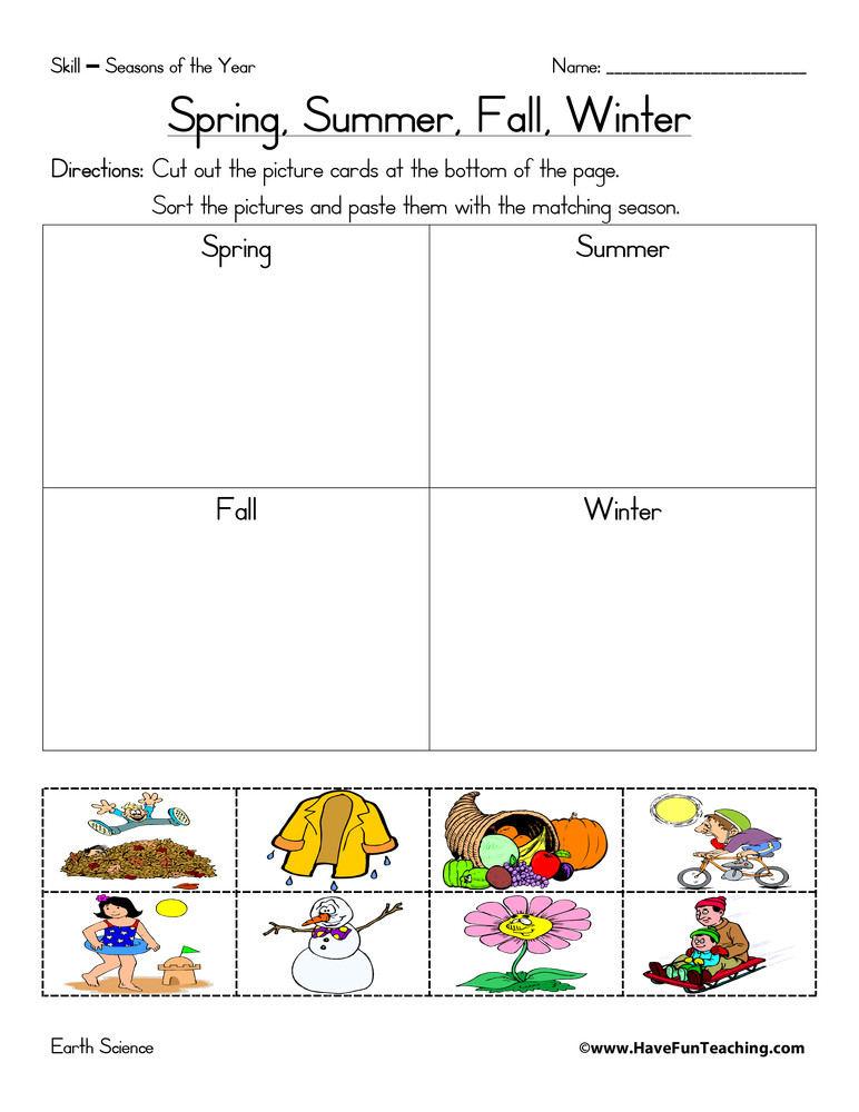 Seasons Worksheets for Kindergarten Seasons Of the Year Matching Worksheet