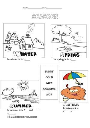 Seasons Worksheets for Kindergarten Seasons Weather