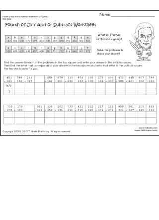 Secret Code Math Worksheets 4th Of July Add and Subtract Worksheets with Secret Code