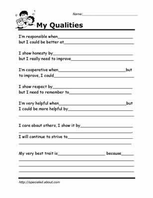 Self Esteem Printable Worksheets Printable Worksheets for Kids to Help Build their social