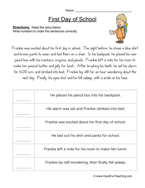 Sequence Worksheets 3rd Grade Fourth Grade Sequencing Worksheets • Have Fun Teaching