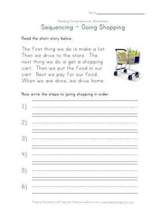 Sequence Worksheets 3rd Grade Sequencing Reading Prehension Worksheet Going Shopping