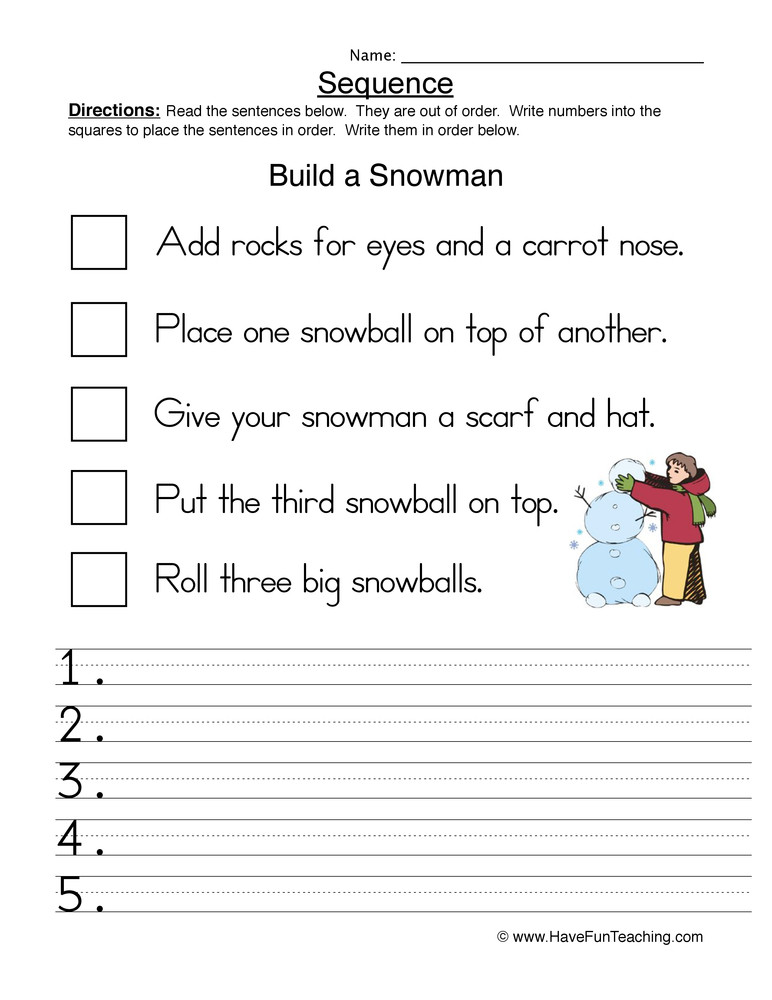 Sequencing Worksheet First Grade Build A Snowman Sequence Worksheet