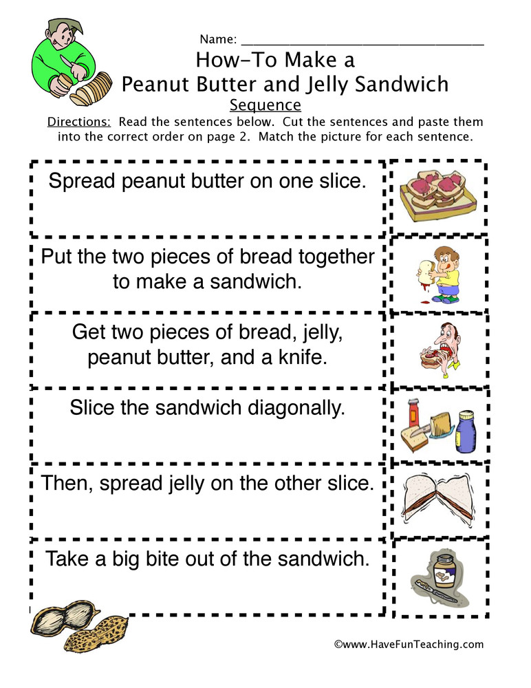 Sequencing Worksheet First Grade How to Peanut butter Jelly Sandwich Sequence Worksheet