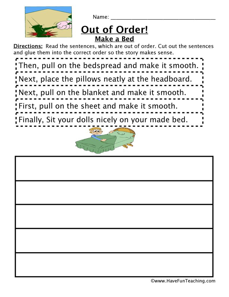 Sequencing Worksheets for 1st Grade Making A Bed Sequencing Worksheet
