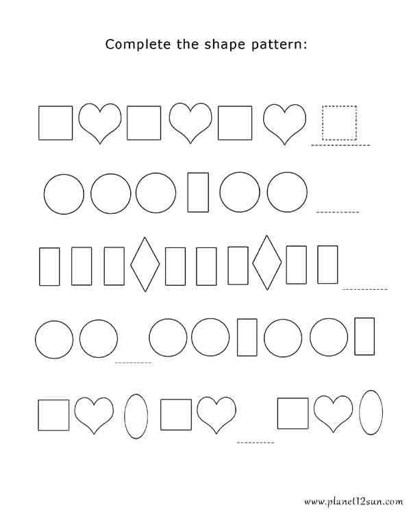 Shapes Worksheets 2nd Grade Pattern and Shapes Bluebirdplanet Printables