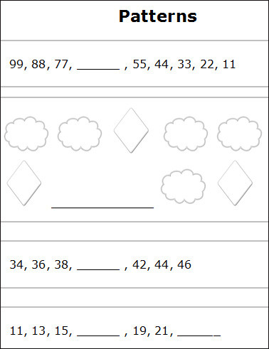 Shapes Worksheets 2nd Grade Patterns and Sequences Worksheets Free Printable Number