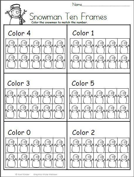 Snowman Math Worksheets Color the Snowman Math for Kindergarten with Images