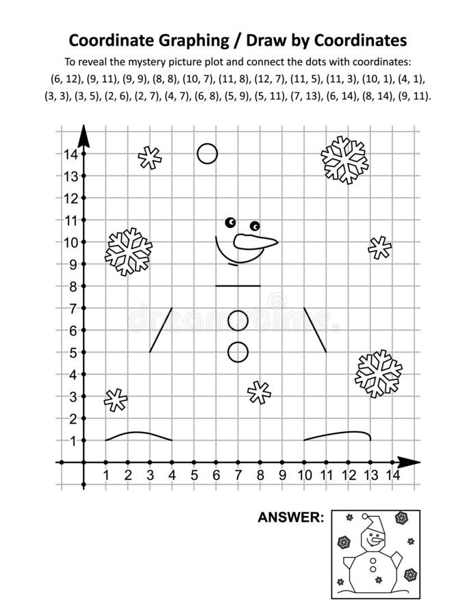 Snowman Math Worksheets Coordinate Graphing Draw by Coordinates Math Worksheet