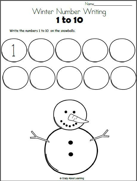 Snowman Math Worksheets Snowman Math Write the Numbers to 10