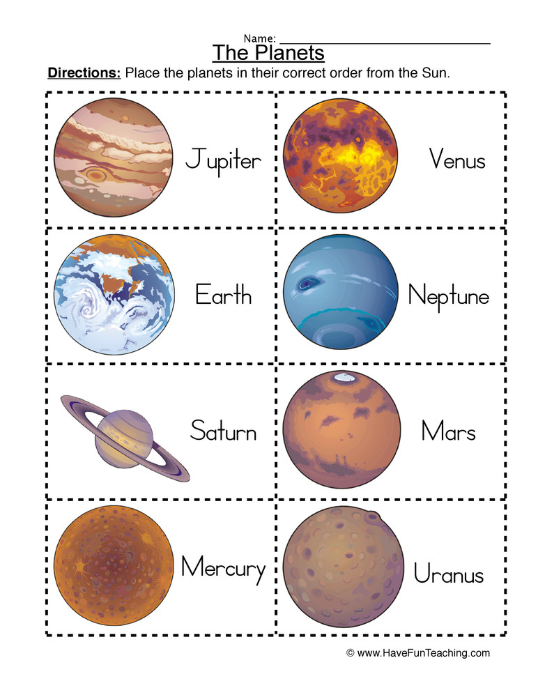 Solar System Worksheets 5th Grade ordering Planets Worksheet