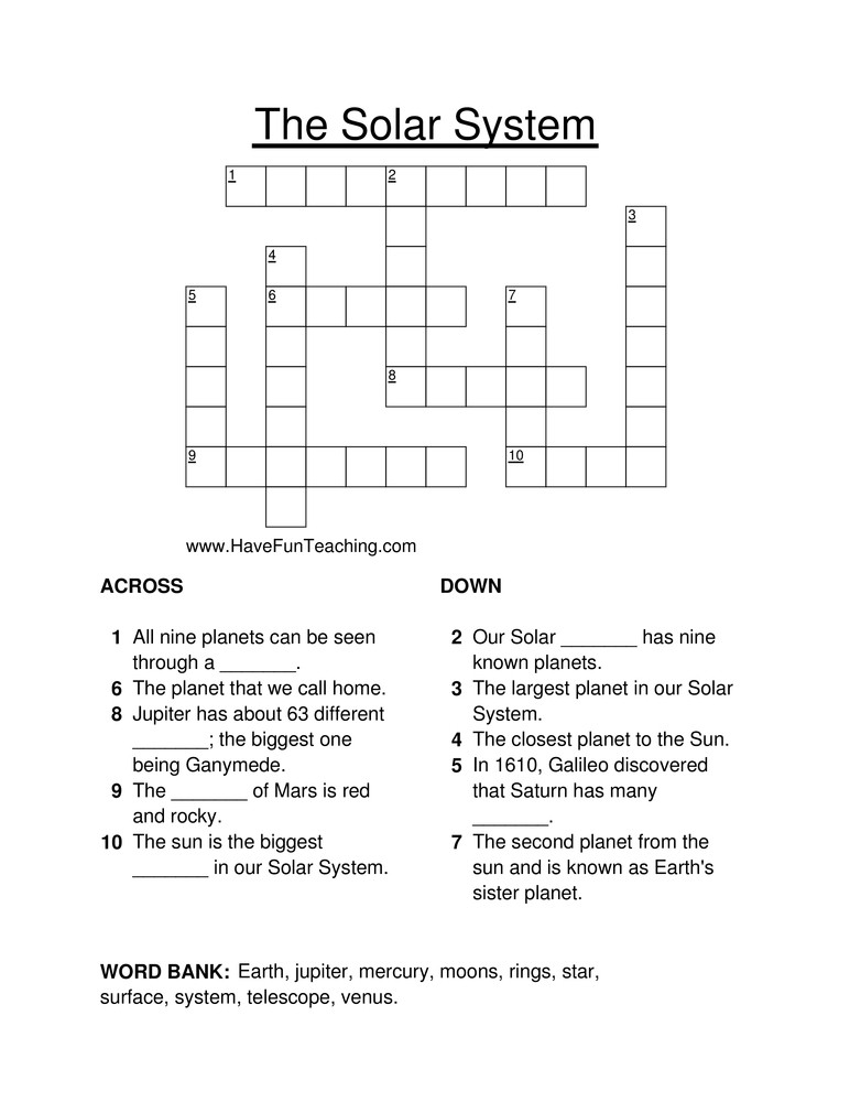 Solar System Worksheets 5th Grade solar System Crossword Puzzle