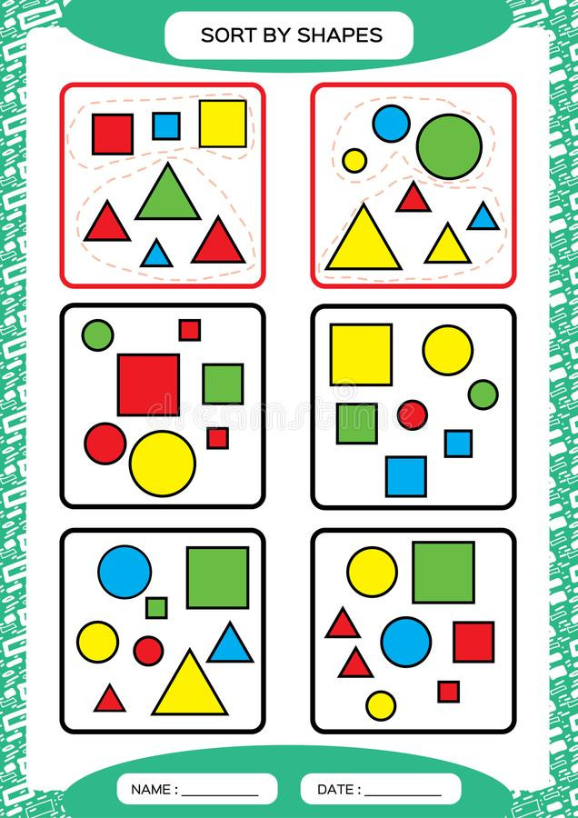 Sorting Worksheets for Kindergarten sort by Shapes sorting Game Group by Shapes Square