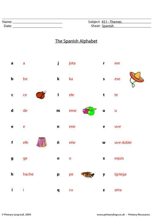 Spanish Alphabet Worksheets for Kindergarten Primaryleap Spanish Alphabet Worksheet