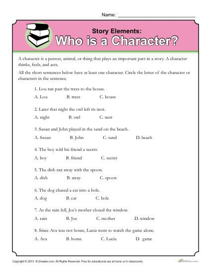 Story Elements Worksheet 2nd Grade who is A Character