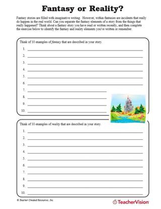 Story Elements Worksheets 2nd Grade Fantasy or Reality Understanding Story Elements Teachervision