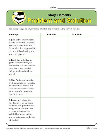 Story Elements Worksheets 2nd Grade Story Elements Worksheet Problem and solution
