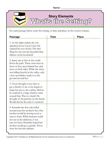Story Elements Worksheets 2nd Grade Story Elements Worksheet What S the Setting