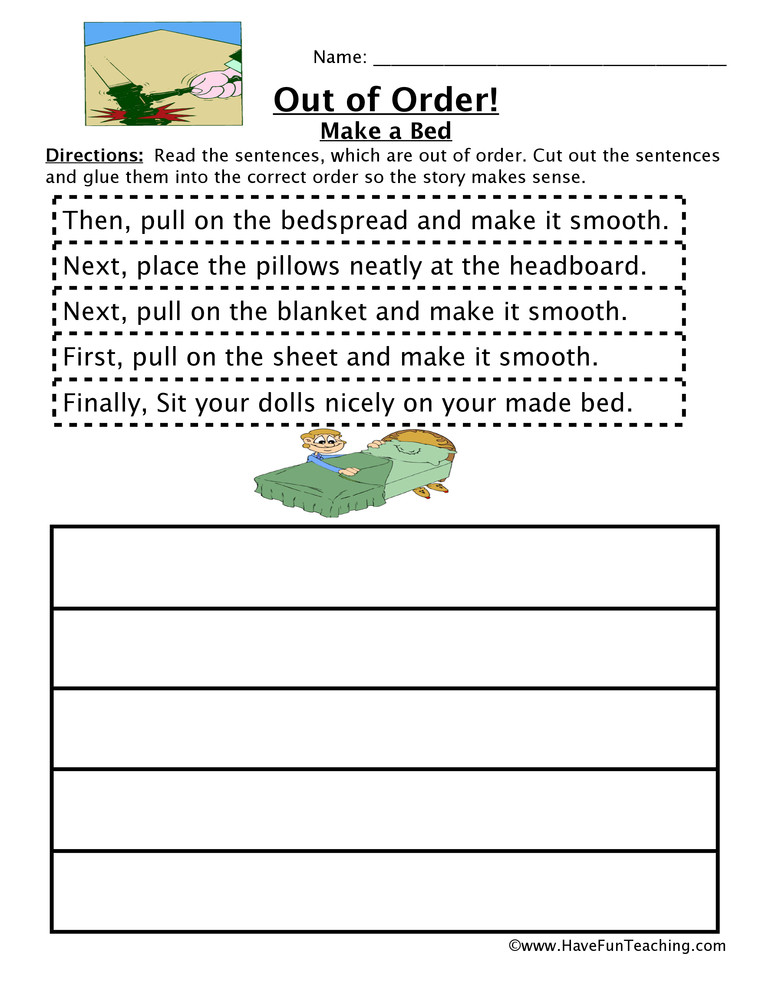 Story Sequence Worksheets for Kindergarten Making A Bed Sequencing Worksheet
