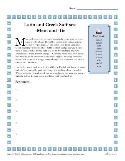Suffix Worksheets 4th Grade Greek and Latin Suffixes Ment and Ite