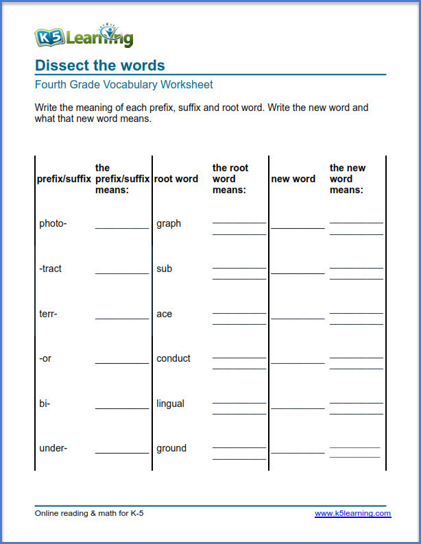 Suffixes Worksheets 4th Grade Grade 4 Vocabulary Worksheets – Printable and organized by