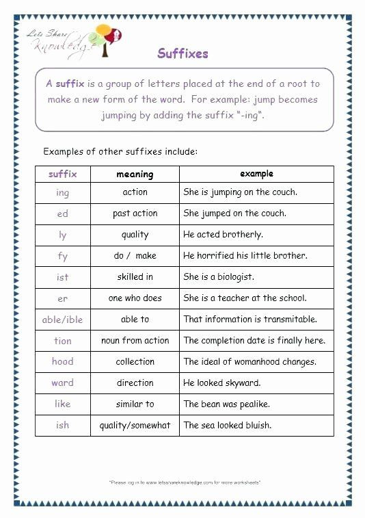 Suffixes Worksheets 4th Grade Pin On Examples Printable Preschool Worksheets