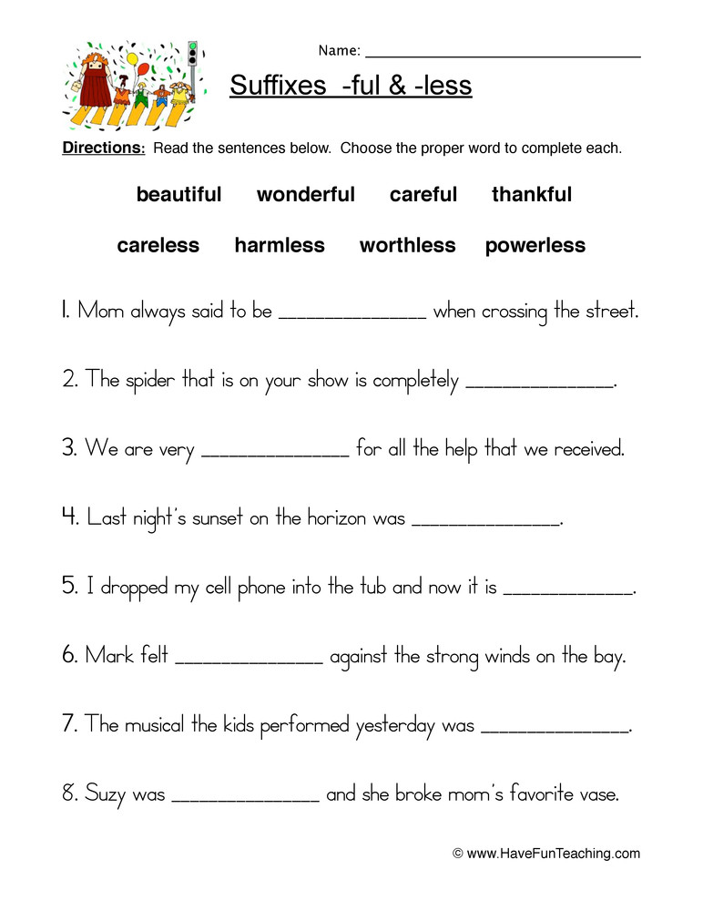 Suffixes Worksheets 4th Grade Suffix Ful and Less Worksheet