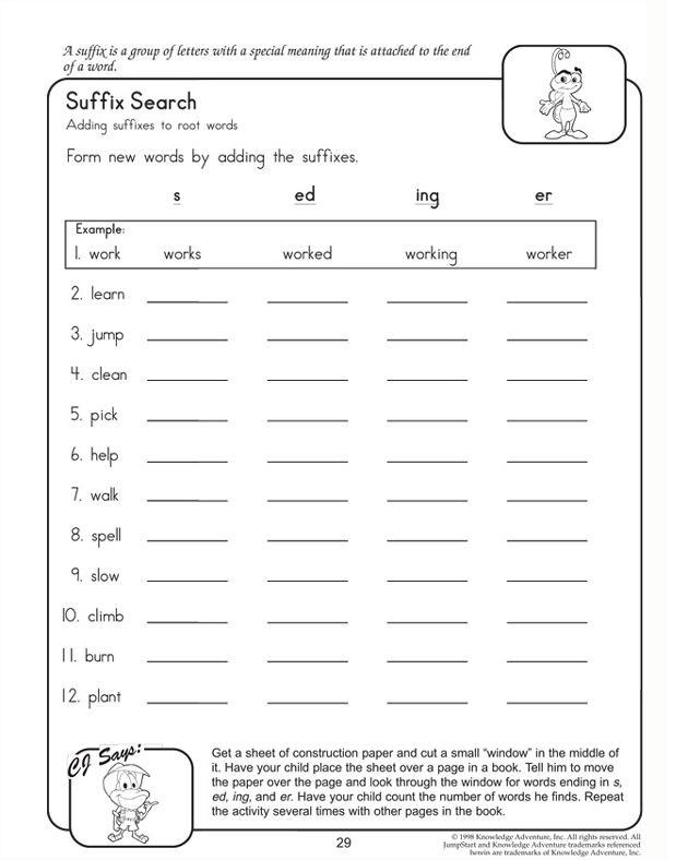 Suffixes Worksheets 4th Grade Suffix Search English Worksheets for 2nd Grade
