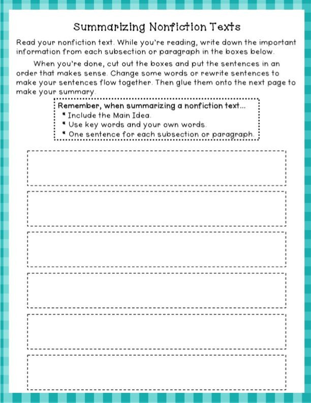 Summarizing Worksheet 4th Grade Summarizing Nonfiction Freebie