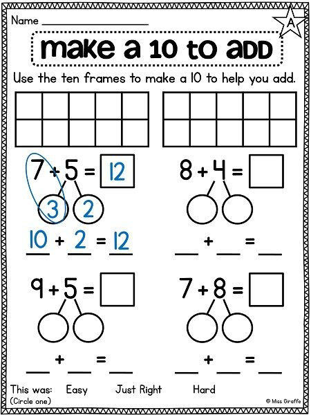 Ten Frame Worksheets First Grade Math Addition Strategies Lessons Tes Teach