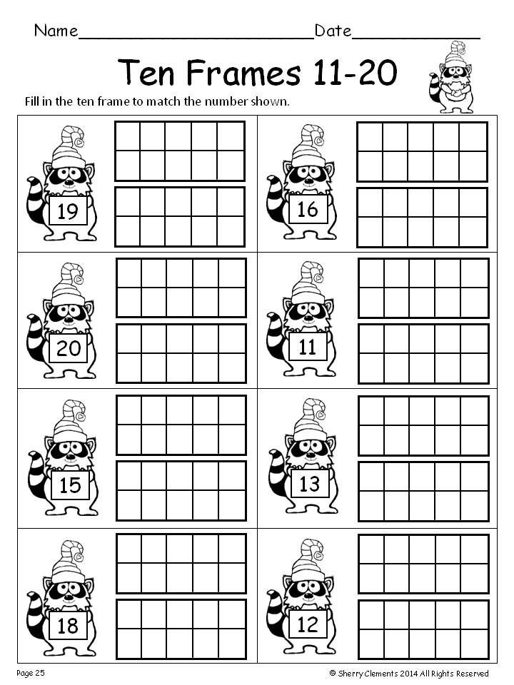 Ten Frame Worksheets First Grade Ten Frames 11 20 Winter Fill In the Ten Frames
