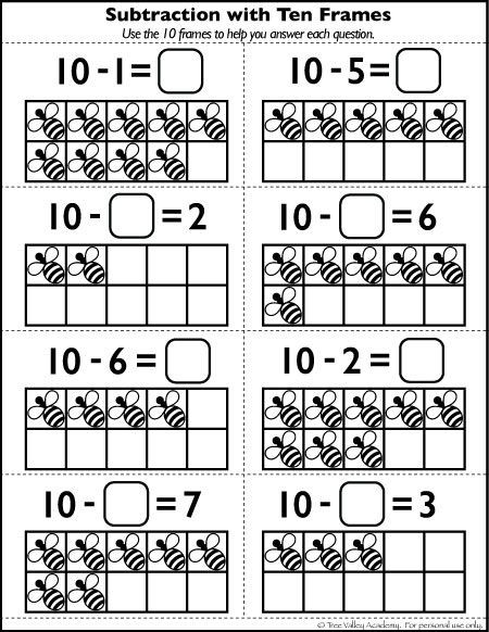Ten Frame Worksheets Kindergarten Free Number 10 Worksheets