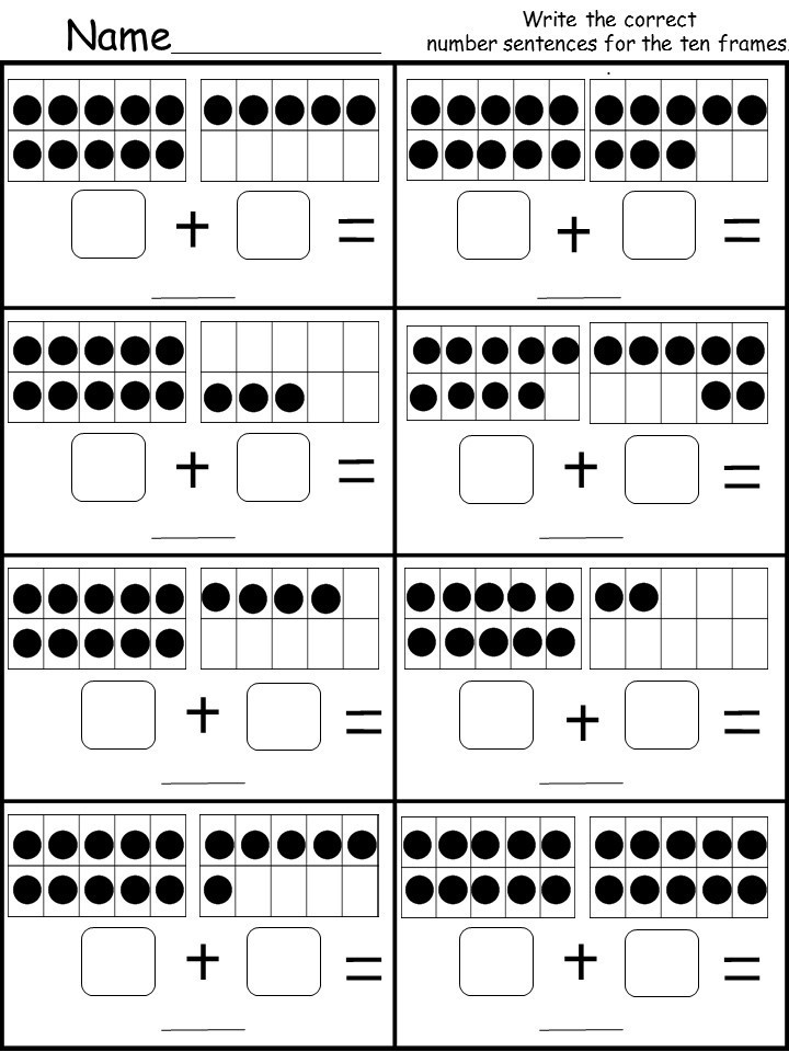 Ten Frame Worksheets Kindergarten Free Ten Frame Addition Printable Kindermomma