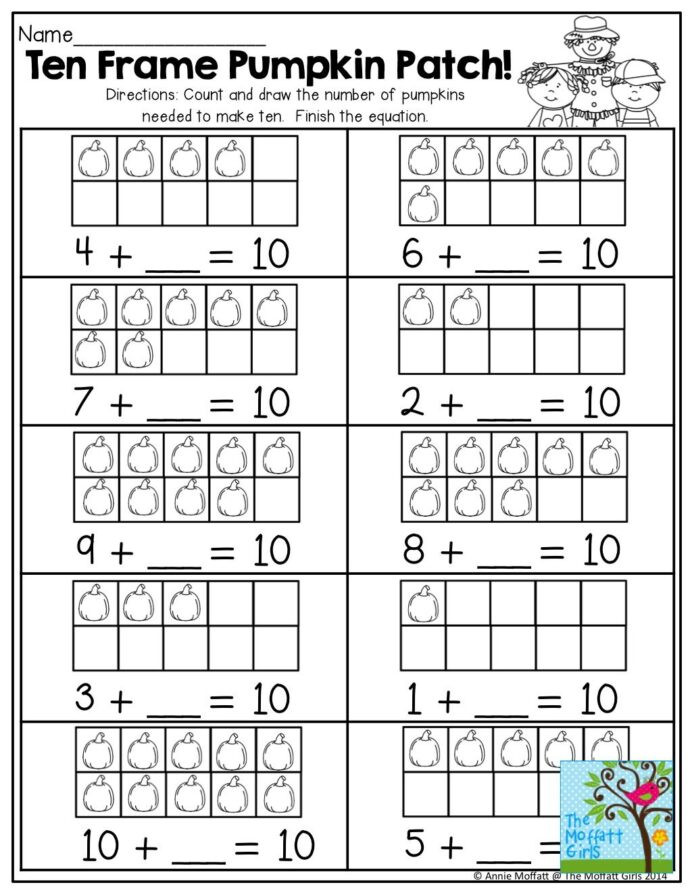 Ten Frame Worksheets Kindergarten October Fun Filled Learning Resources Math Activities 1st