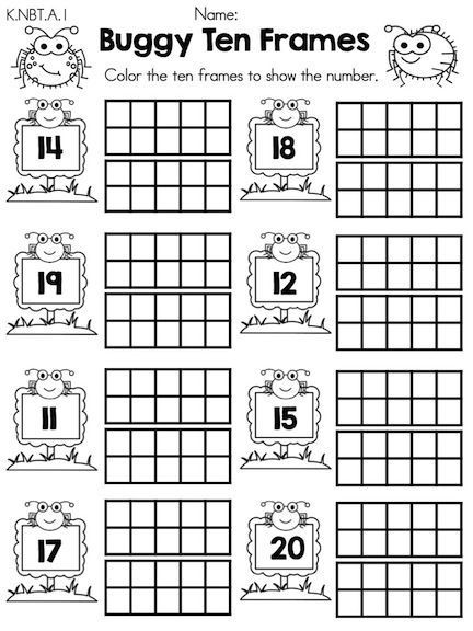 Ten Frame Worksheets Kindergarten Pin On Ten Frame Teen Numbers
